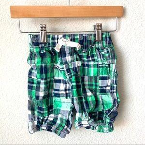 Gymboree boys green & blue madras shorts - 3t